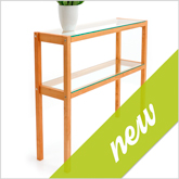 New: Console Table QUADRA cherry wood with glass panes- Art. 6190