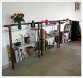 Customer Picture - QUADRA Wall shelving walnut wood - Art. 6081