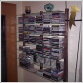 Customer Picture - CD Shelving unit made of walnut wood with glass panes - Art. 6116