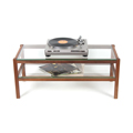 6136 - TV board, hi-fi board, coffee table made of solid walnut wood, glass