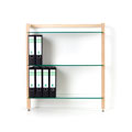 6253 - Storage Shelf QUADRA, with 3 glass tiers, ash tree wood