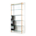 6254 - Storage Shelving Unit Quadra, with 6 glass tiers, ash tree wood