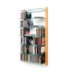 CD Regal Kirschbaum Holz mit Glasböden