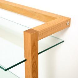 QUADRA Holzregal Kirschbaum mit 3 Glasböden
