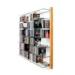 CD Shelving double unit STORAY for 600 CDs cherry tree wood