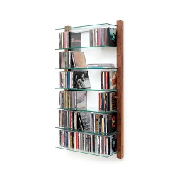 CD Shelving Unit STORAY for 300 CDs, walnut wood