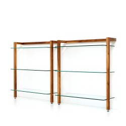 Storage Shelving unit QUADRA, walnut wood