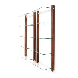 DVD Rack Shelving unit STORAY for 100 DVDs, walnut wood