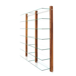 CD Shelving double unit STORAY for 600 CDs, walnut wood