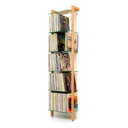 QUADRA LP Shelving unit cherry wood with 6 glass panes