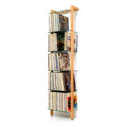 QUADRA Massivholz Schallplatten Regal Kirschbaum 6 Glasböden