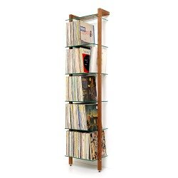 QUADRA LP Shelving unit walnut with 6 glass panes