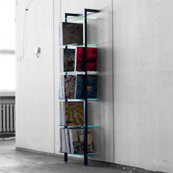 QUADRA LP Shelving unit wood black, with 6 glass panes