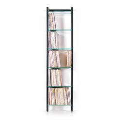 QUADRA Holz Schallplattenregal schwarz 6 Glasböden