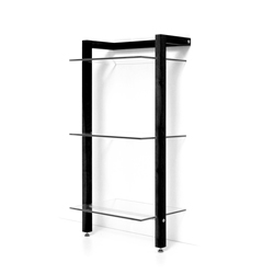 QUADRA LP shelving wood 3 tier, black finish