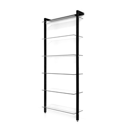 QUADRA Storage Shelving Unit, 6 tiers, solid wood, black