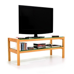TV board, hi-fi board, coffee table made of solid cherry wood, glass