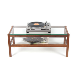 TV board, hi-fi board, coffee table made of solid walnut wood, glass