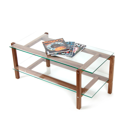 KRUIS - Coffee table massive walnut wood, glass