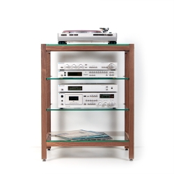 Hifi-Rack QUADRA walnut wood with glass panes