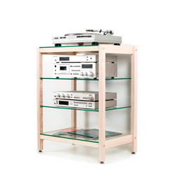 Hifi-Rack QUADRA ash wood with glass panes