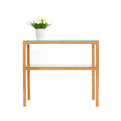 Console Table QUADRA cherry wood with glass panes