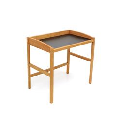 Schreibtisch Sekretär QUADRA aus Kirschbaum mit schwarzer Tischplatte
