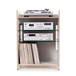 Hifi-Rack made of plywood - with glass or plywood shelves