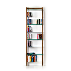Narrow Shelving unit QUADRA for DVDs or books, walnut wood, with 8-tiers of glass
