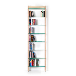 Narrow Shelving unit QUADRA for DVDs or books, ash wood, with 8-tiers of glass