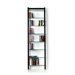 Narrow Shelving unit QUADRA for DVDs or books, black finish, with 8-tiers of glass
