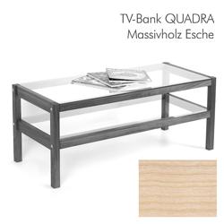 Massivholz Hifi-Board TV-Bank QUADRA aus Esche mit Glasböden