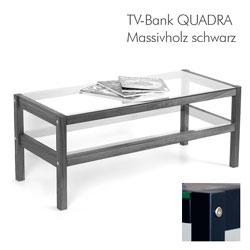 Massivholz Hifi-Board TV-Bank QUADRA in schwarz mit Glasböden
