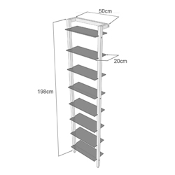 Narrow Shelving unit QUADRA for DVDs or books, cherry wood, with 8-tiers of glass