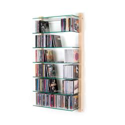 CD Regal Esche Holz mit Glasböden