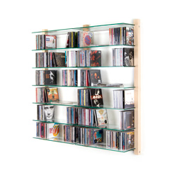 CD Shelving double unit STORAY for 600 CDs ash tree wood