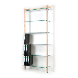 Storage Shelving Unit Quadra, with 6 glass tiers, ash tree wood
