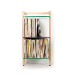 QUADRA Schallplatten Regal Esche Massivholz 3 Glasböden