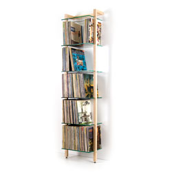 QUADRA LP Shelving unit ash wood with 6 glass panes