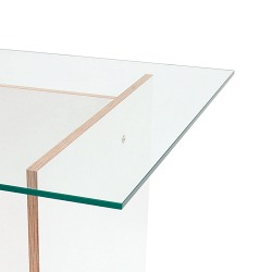 Glastischplatte in klarer Optik 120x75x1cm