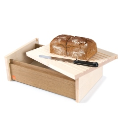 Solid wooden bread box, bread container of maple and oak wood