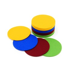 Circular felt coasters in 4 radiant colors
