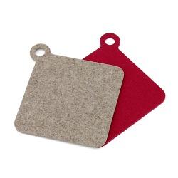 Topflappen und Untersetzer Woll-Filz in 2 Farben