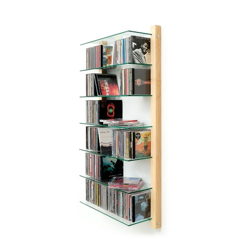 CD Regal Ahorn Holz mit Glasböden