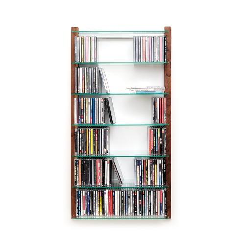 CD Regal NUSSBAUM Holz mit Glasböden