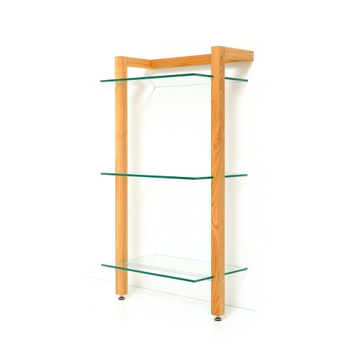 QUADRA Holz Schallplattenregal Kirschbaum 3 Glasböden