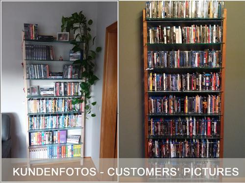 QUADRA DVD-Regal oder Bücherregal aus Massivholz Nussbaum